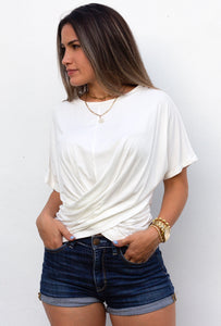 Basic Crossed Knit White Tee