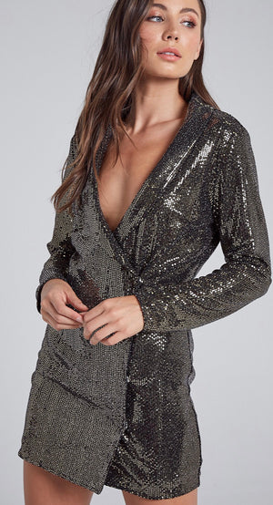 Shine All Night in Gold Sequins Blazer Dress