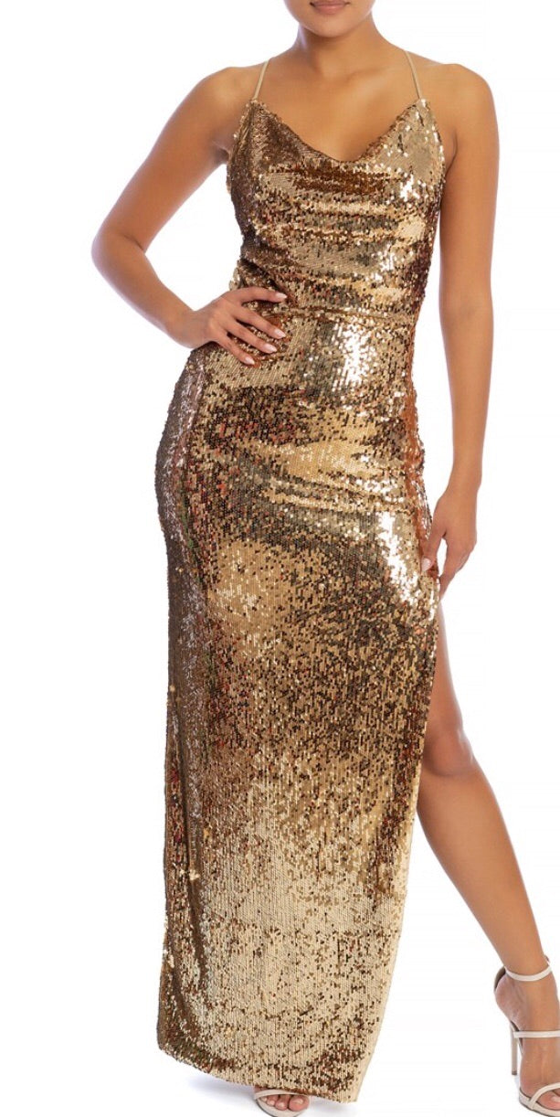 copy Grand Soiree Gold Sequins Formal Dress