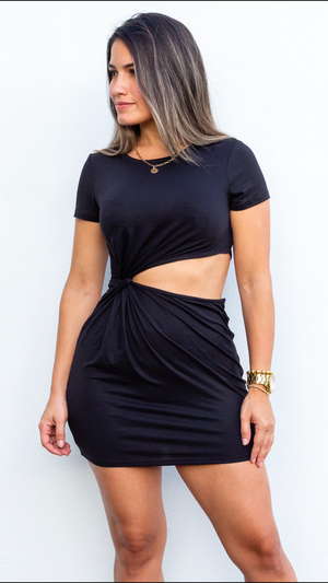 Sassy Season Black Side Cut Knit Dress