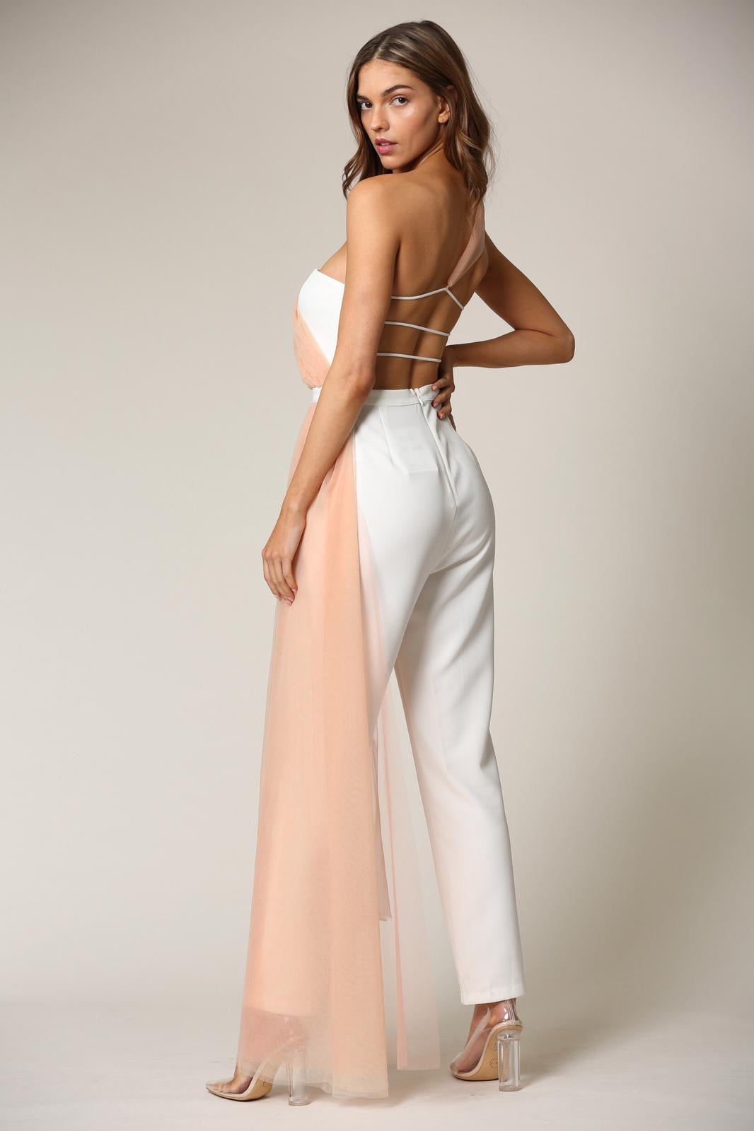 The White & Peach Showstopper Jumpuit