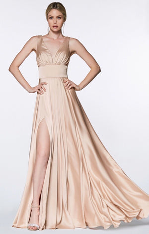 Kind and Loving Nude Satin Bridesmaid Dress