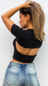 Basics With Open Back Black Crop Top