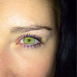 Cute girl with candy green eyes (12 months) contact lens