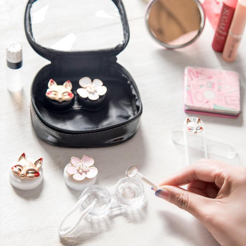 Contact lens case cute personality simple and portable lens box - ilabar