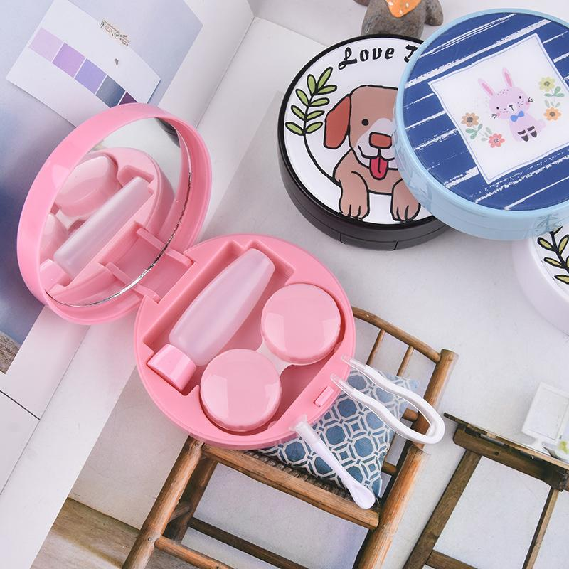 Round acrylic patch cute dog contact lens case - ilabar