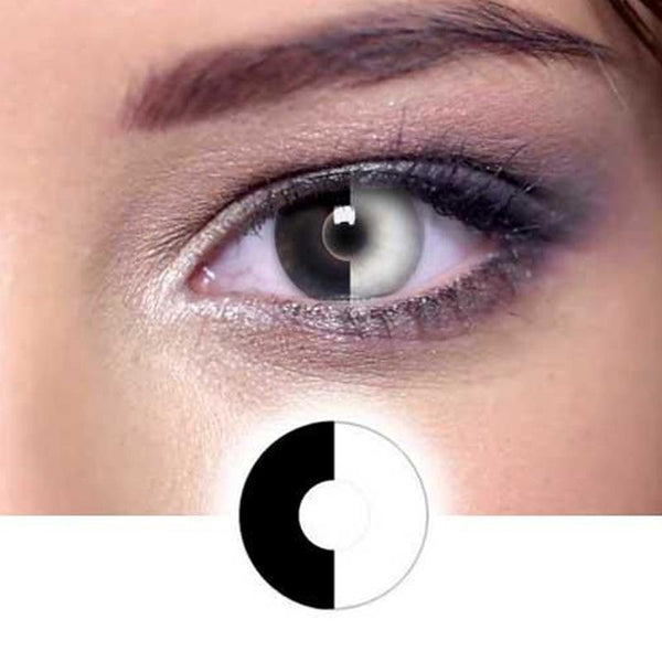 Black and white double color stitching (12 months) contact lenses