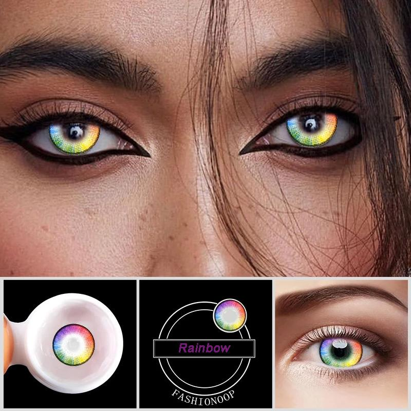 Eye Circle Lens Rainbow Flash Colored Contact Lenses