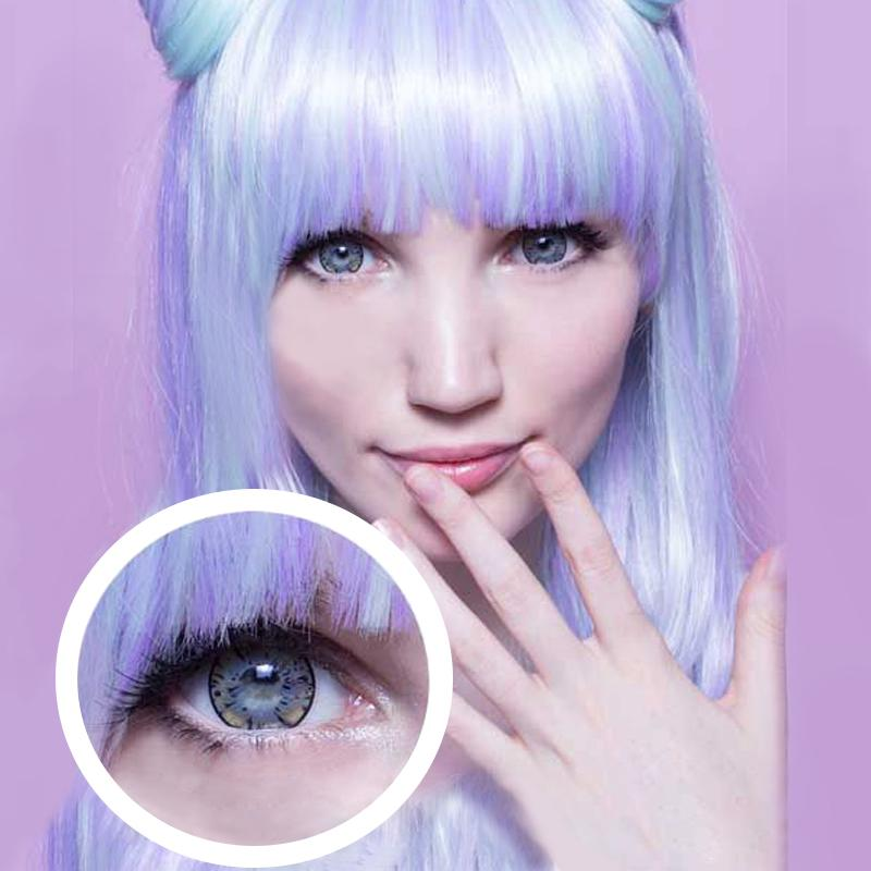 Purple blue flower-shaped big eyes (12 months) contact lenses