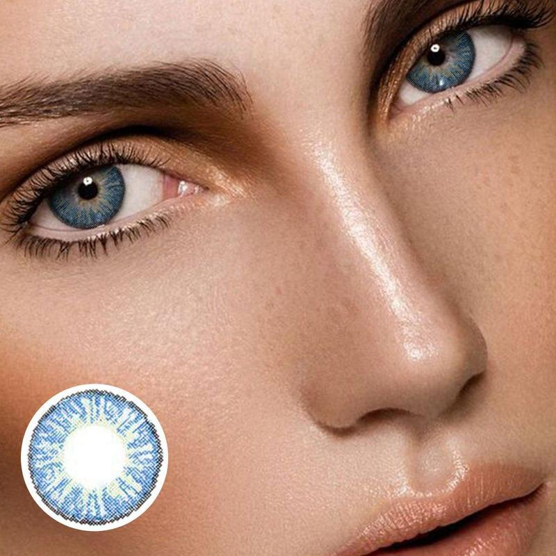 Marble Flowery Blue (12 Month) Contact Lenses - ilabar