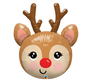 "35"" RED NOSED REINDEER SHAPE BALLOON"