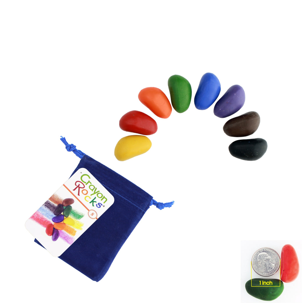Crayon Rocks 8 Colors <br>in a Blue Velvet Bag