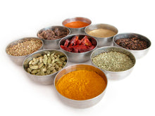 Nine bowls of spices