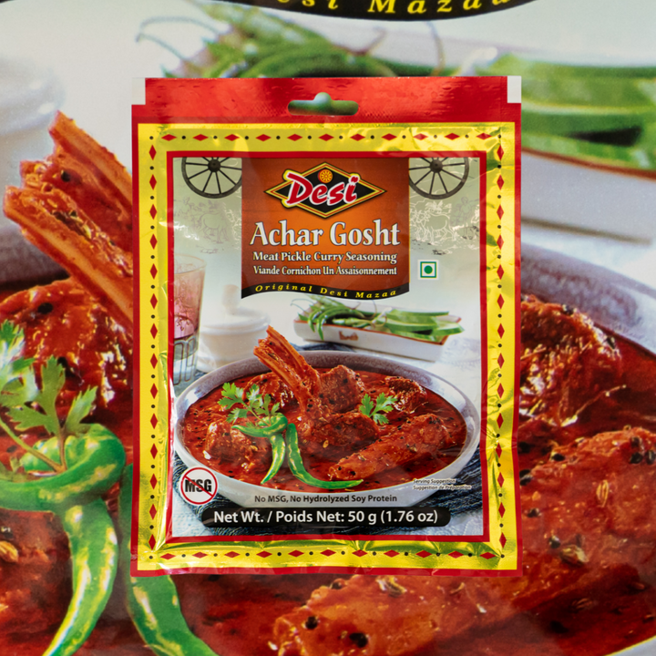 Desi Achar Gosht Seasoning is a dry powder mix of spices and herbs, formulated to enable even a novice to cooking a delicious dish of achar gosht.
