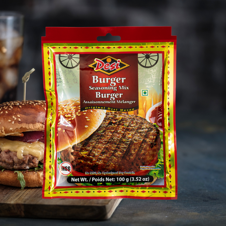 Take your grilling experience to the next level with the Desi Burger Seasoning Mix. Just add it into ground beef, chicken or mutton along with some chopped cilantro, onions and green chillies and form into patties.