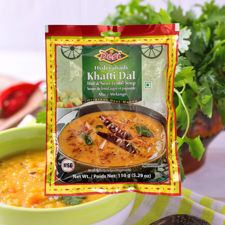 Hyderabadi Khatti Dal is a popular hot and sour lentil soup mix mainly made in Hyderabad, India. It is a tangy tamarind-tomato chana dal and is often accompanied by rice or chapati.