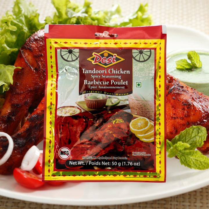 Authentic and thoroughly delicious, Desi Tandoori Chicken Spice Seasoning is a total showstopper. To rival the flavour of your favourite Indian restaurant's tandoori chicken, just add this seasoning to your chicken with some yogurt, fresh coriander and a little bit of oil and throw on the barbecue or bake in the oven.