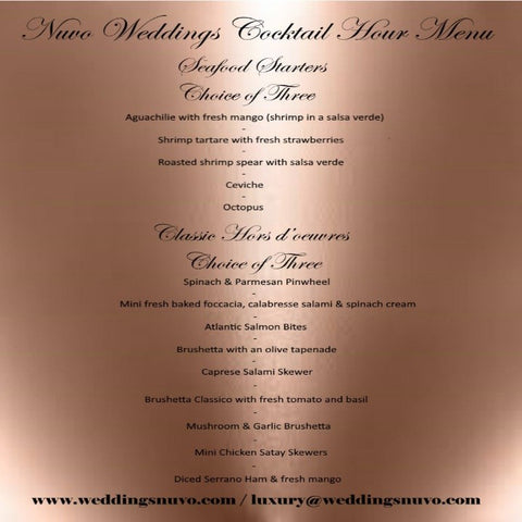 Nuvo Weddings - Destination Dining