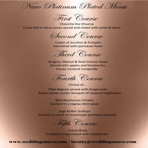 Nuvo Dining - PLATINUM PACKAGE - PLATED