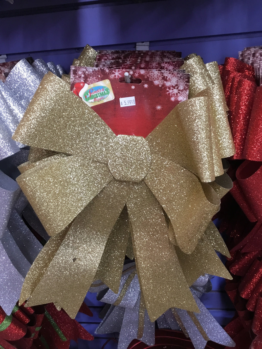 Large Glitter Bow - Gold