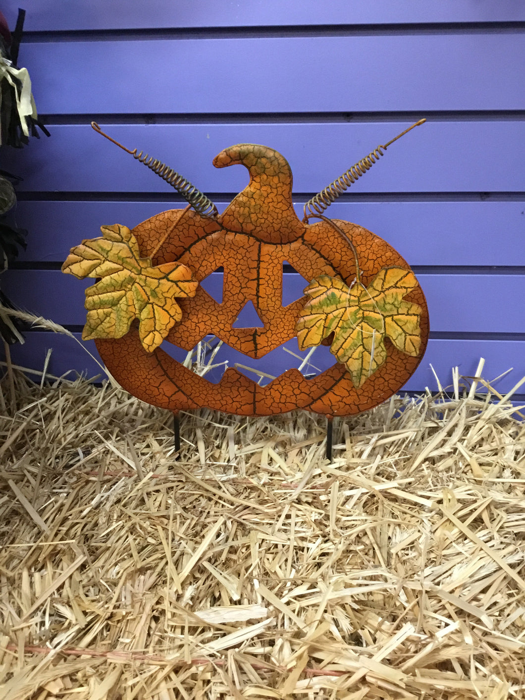 Crackle Pumpkin With Face - Wide