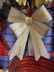 Large Glitter Bow - Silver with Gold