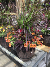 Load image into Gallery viewer, Large Fall Cask Planter - Dark Brown Pot