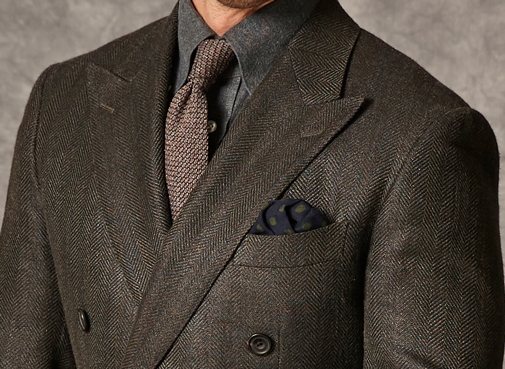 Forrest Green Herringbone - Wool, Silk, Linen - With Brown Twill Trousers