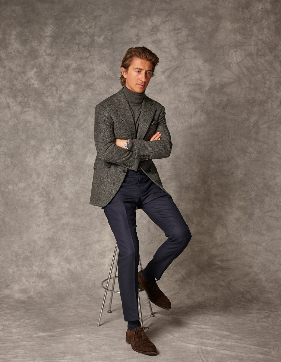 Grey Herringbone Blazer Navy Trouser