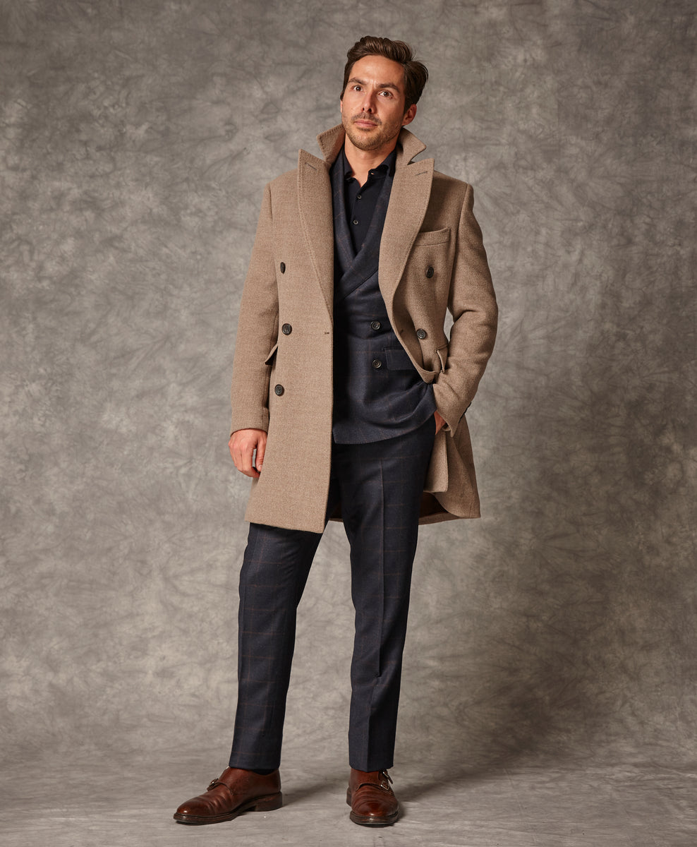 Stone double breasted overcoat