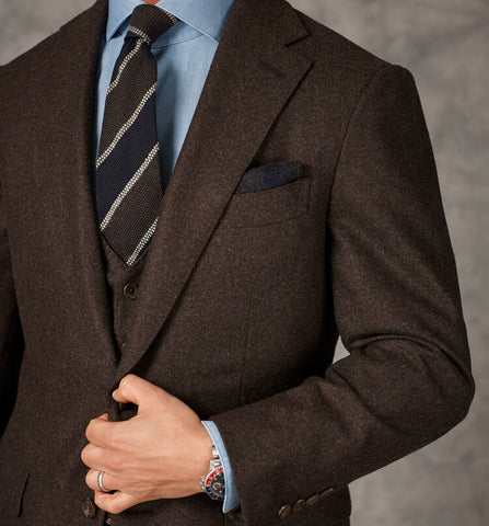 Chocolate Brown Flannel 3pc Suit / Blazer