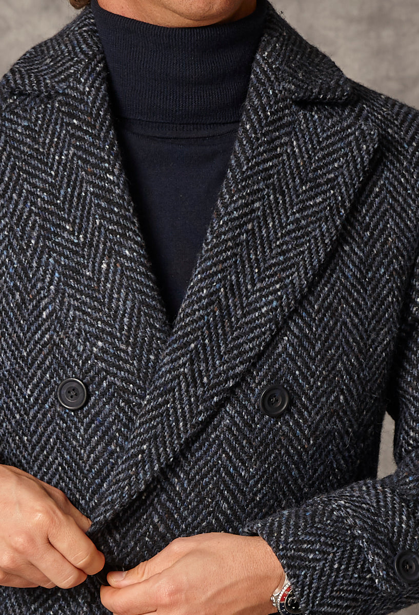 Navy Oversized Herringbone - Wool