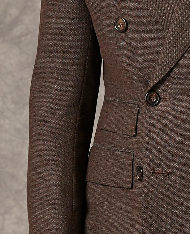 Brown Hopsack - Wool - With Navy Cotton Chinos