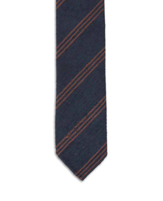 Navy Brown Stripe Shantung Tie
