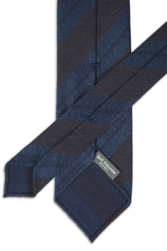 Navy and Brown Silk Club Tie