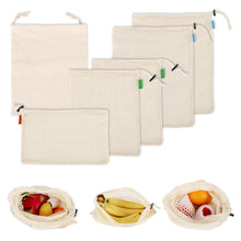 Load image into Gallery viewer, 6pc Reusable Eco-Friendly Cotton Washable Produce Bags - Purely Trü