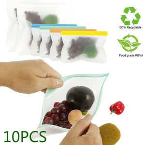 10pc Reusable Silicone Ziplock Snack/Sandwich Bag - Purely Trü