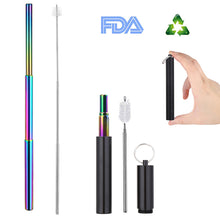 Load image into Gallery viewer, Collapsible Reusable Eco-Friendly Metal Drinking Straw with Case and Brush - Purely Trü