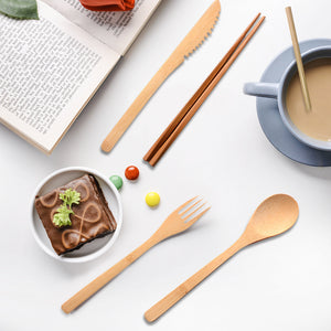 4 Sets of Eco-Friendly Reusable Bamboo Cutlery Set - Purely Trü
