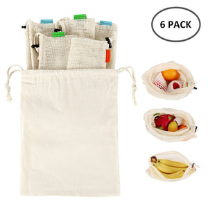 6pc Reusable Eco-Friendly Cotton Washable Produce Bags - Purely Trü