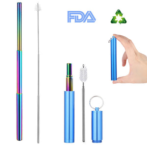 Collapsible Reusable Eco-Friendly Metal Drinking Straw with Case and Brush - Purely Trü