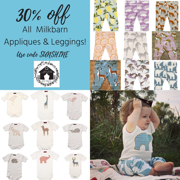 30% off MilkBarn appliqués and leggings!