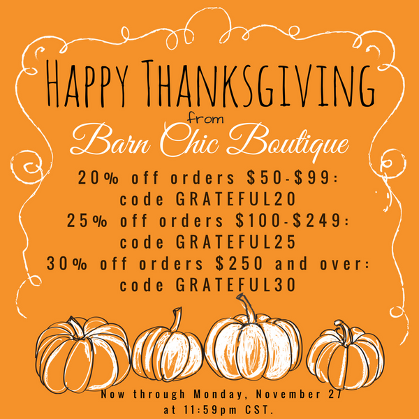 Thanksgiving Sale at Barn Chic Boutique