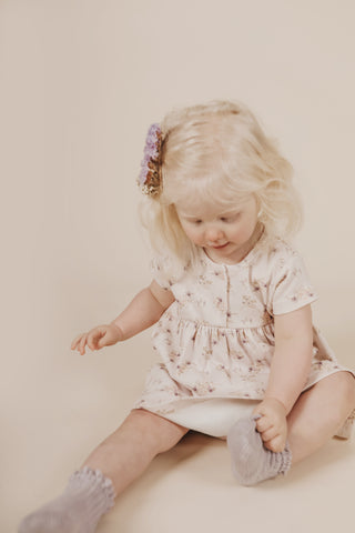 Jamie Kay Whimsy Collection Toddler in Sweet Pea Floral Short Sleeve Dress and Frill Socks in Iris