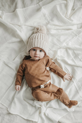 Jamie Kay Whimsy Collection - Baby in Tiny Dots wrap top, footed pants, and oatmeal fleck cozy stocking hat