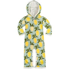 milkbarn hooded romper in lemon organic cotton