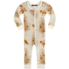 Milkbarn Kids Christmas Fox Pajamas with Zipper