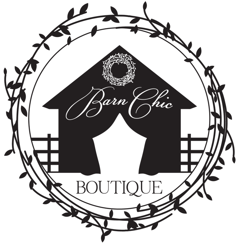 Barn Chic Boutique logo - barn with wreath on barn and barn circled by a wreath