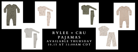Rylee + Cru AW20 Pajamas Capsule collage of Stardust two piece, moons pajama, oat cinnamon stripe, warm grey and forest stripe, and woods print longjohn.