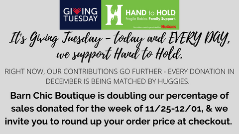Giving Back at Barn Chic Boutique - partnership with Hand to Hold Giving Tuesday